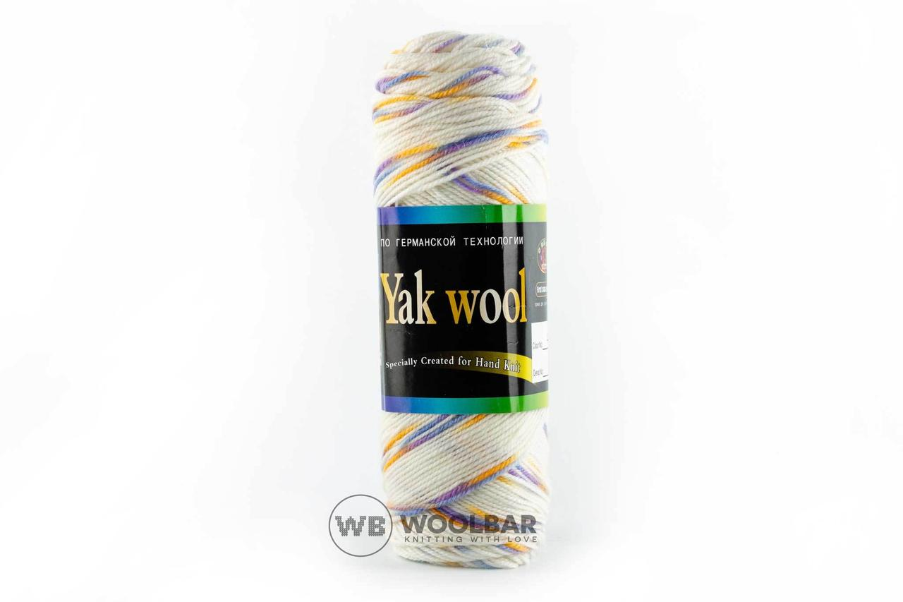 Пряжа Color City Yak wool 22 белый + желто-голубой меланж