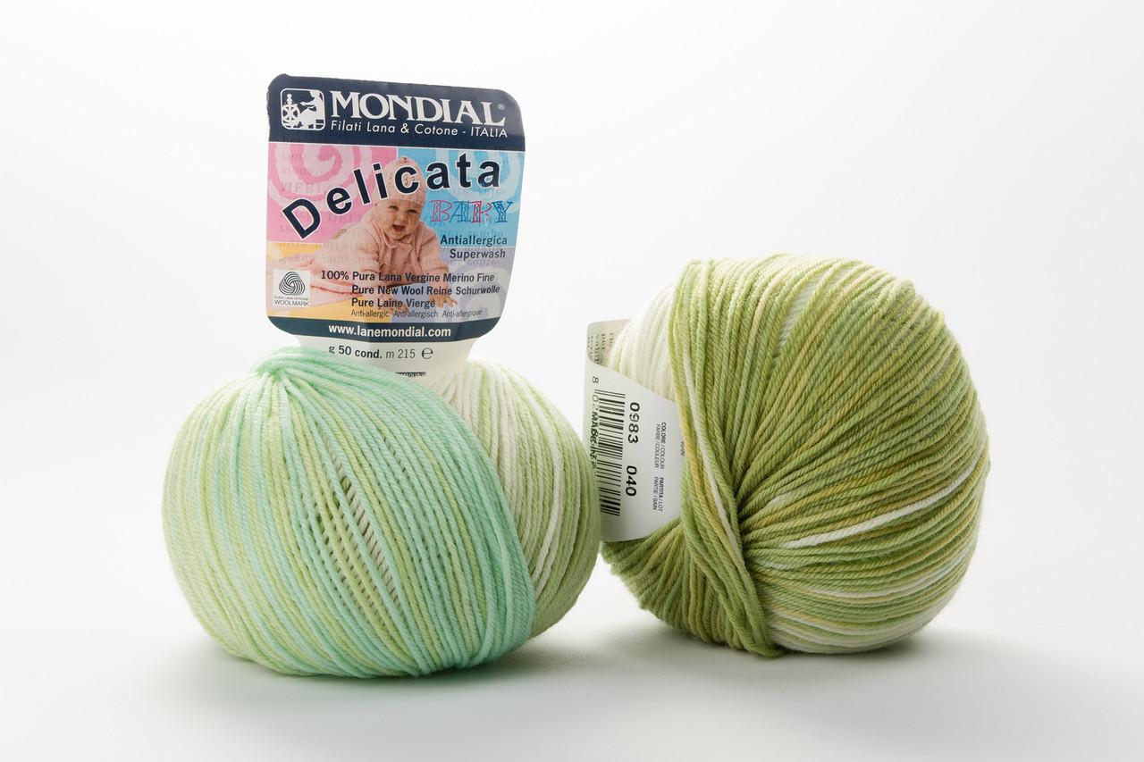 Пряжа Mondial Delicata Baby Color 0983 бледная бирюза + салат