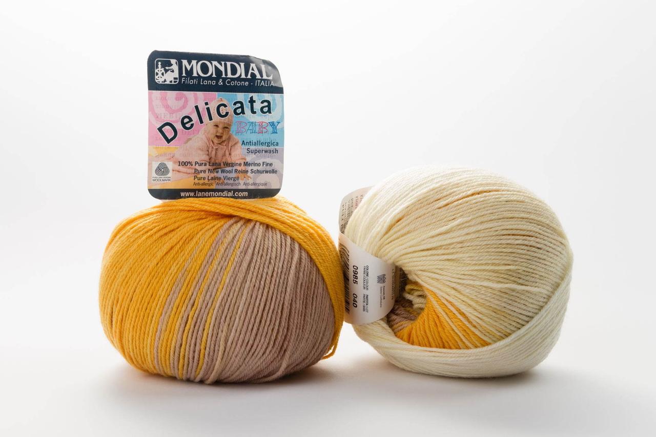 Пряжа Mondial Delicata Baby Color 0985 оранж + беж