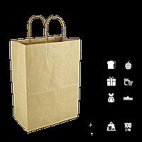 Бумажный пакет крафт с ручками бурый 330х160х420 мм (640) , фото 1