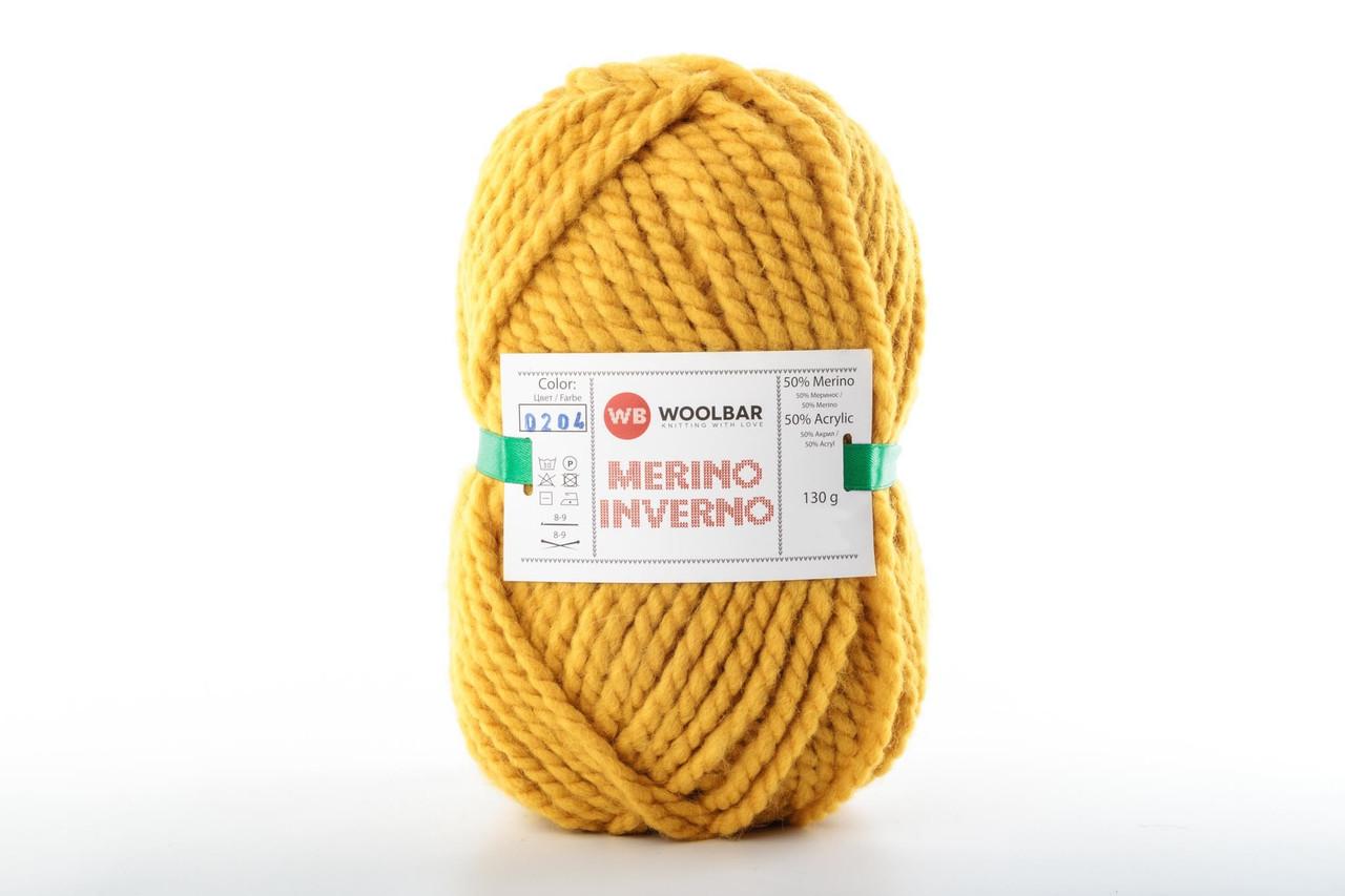 Пряжа Woolbar Merino Inverno 0204 желтый (танжериновый)