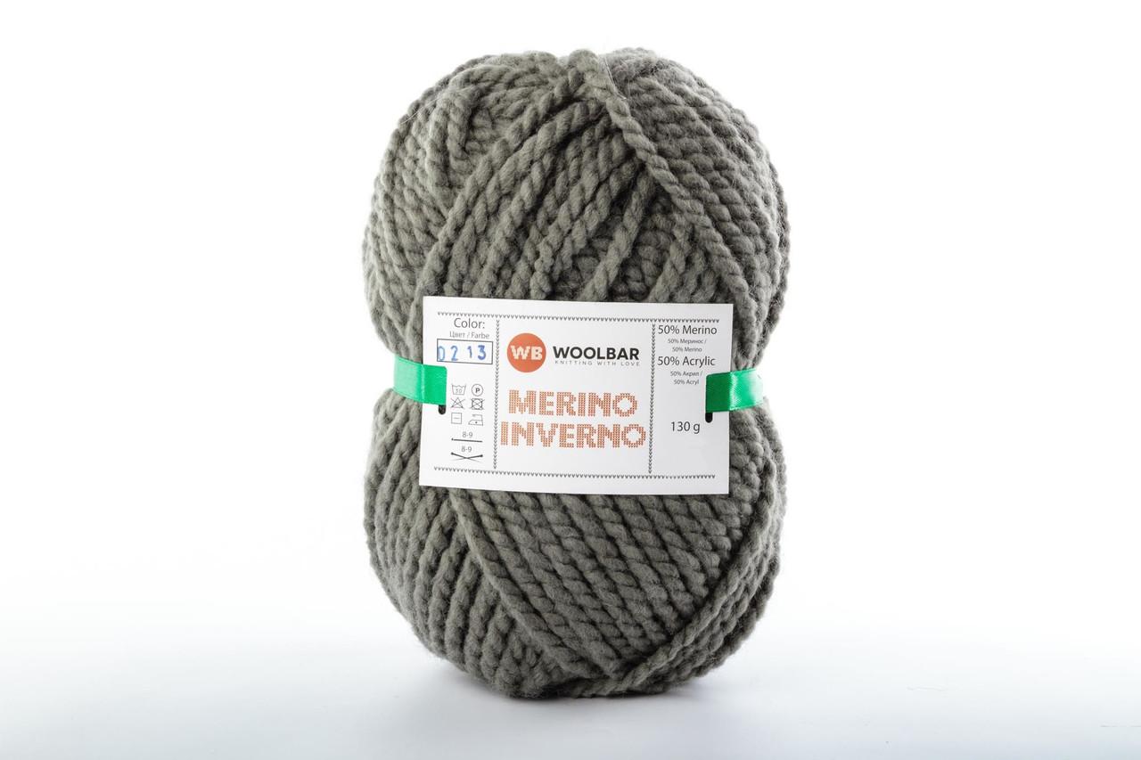 Пряжа Woolbar Merino Inverno 0213 темно-серый