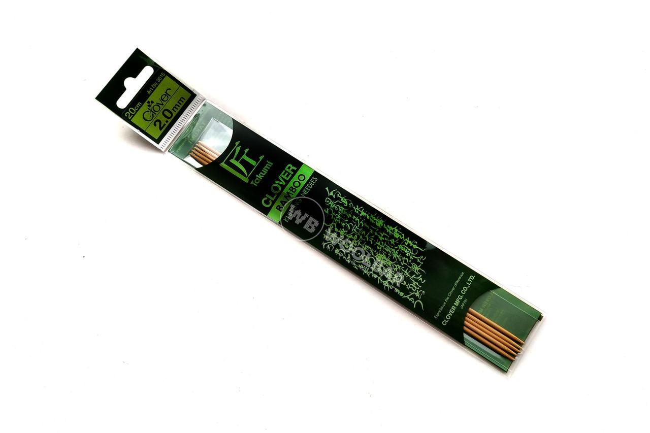 Clover - Спицы чулочные Takumi бамб., 20 см, 2 мм