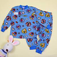 Пижама для мальчика кулир с начесом Эмблема синяя тм Katty размер 56,64
