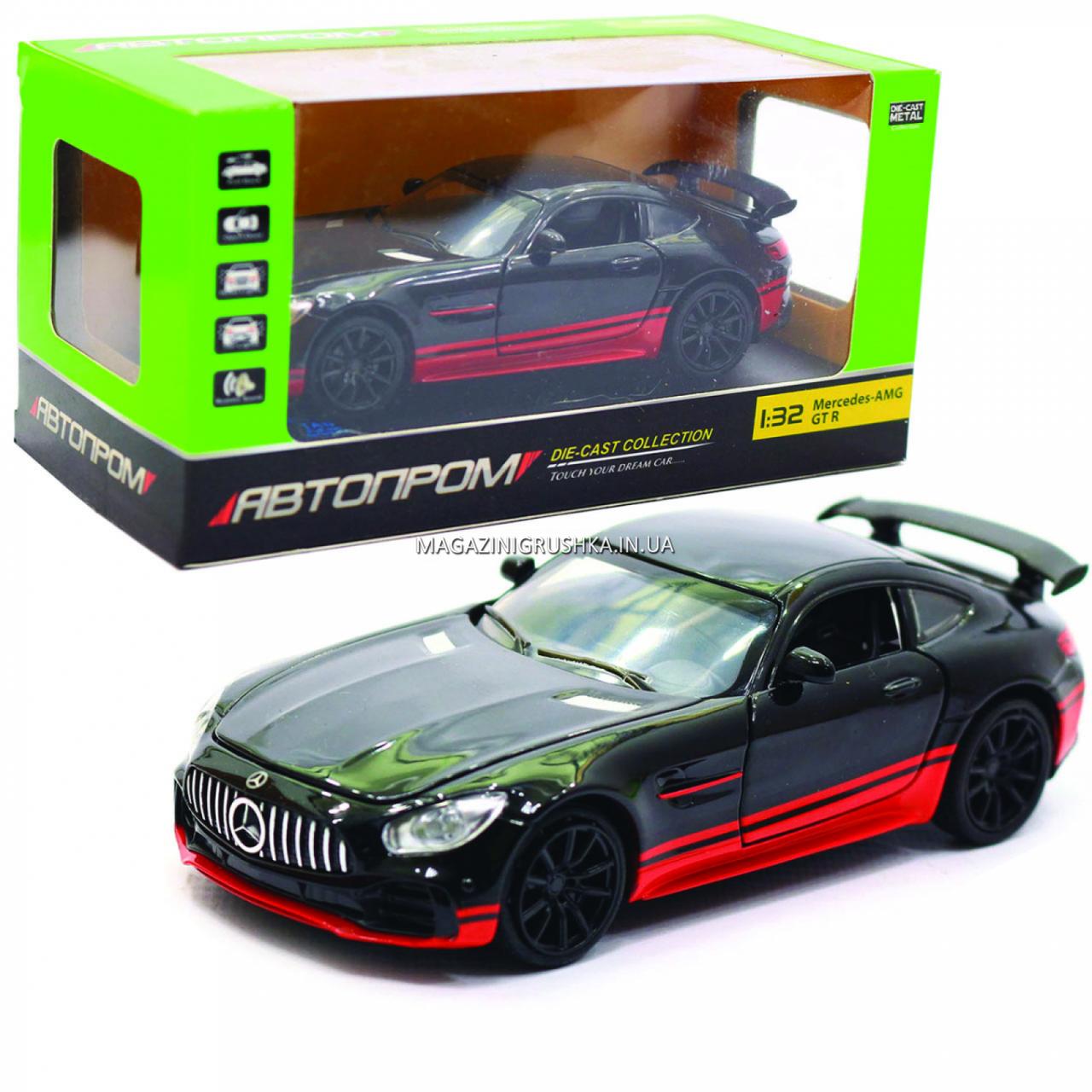 Машинка игровая автопром «Mercedes-AMG GT R», 14 см, свет, звук, двери открываются, черный (7846)