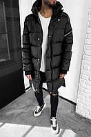 Куртка мужская черная длинная зимняя
