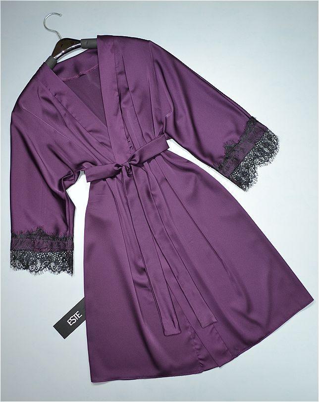 Халат женский шелковый  ТМ Este с кружевом фиолетовый.