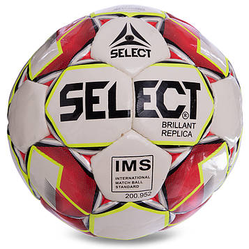 М'яч футбольний №4 PU ламінований ST BRILLANT REPLICA (червоно-білий, зшитий вручну)