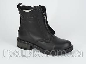 Стильні молодіжні шкіряні зимові черевики на цегейке