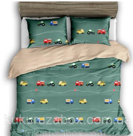 """Комплект постельного белья 110*140 из сатина в кроватку """"Машинки"""""""