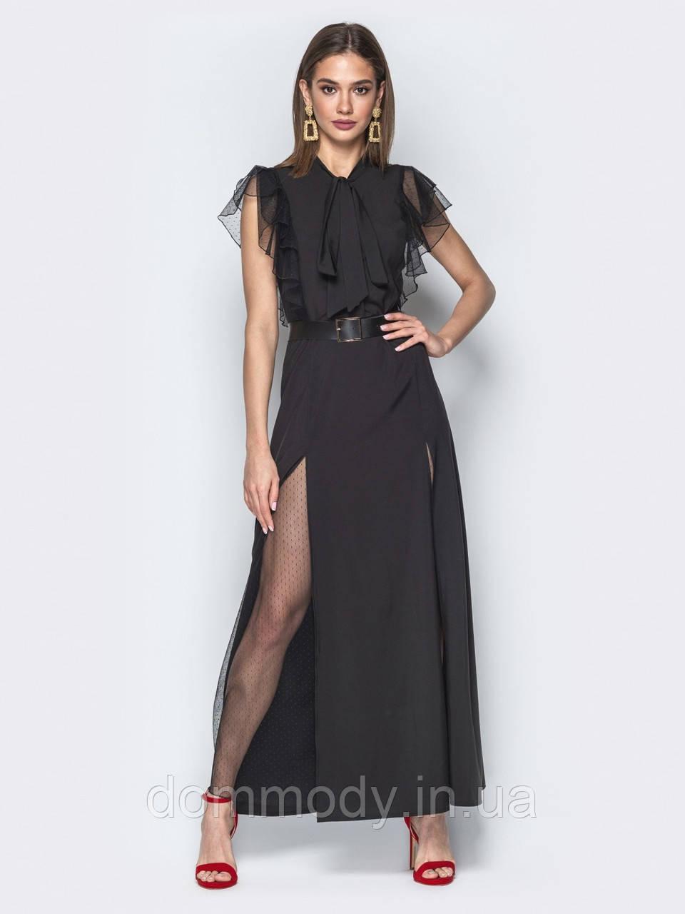 Экстравагантное женское платье с воротником «аскот»