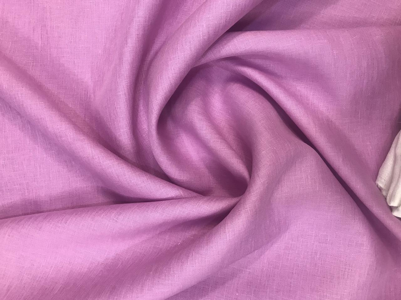 Розовая льняная ткань, цвет 520