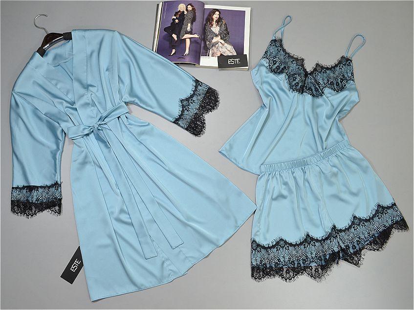 Шелковый комплект с кружевом халат и пижама Este.