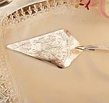 Красивая посеребренная лопатка для торта или десертов, для сервировки десертного стола, мельхиор, Англия, фото 3