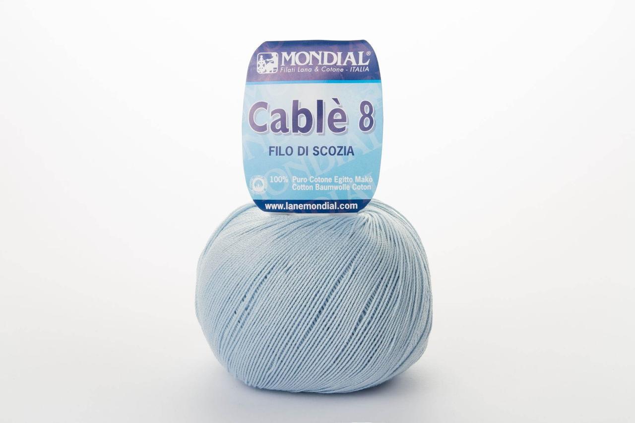 Пряжа Mondial Cable 8 0080 бледно-голубой