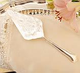 Красивая посеребренная лопатка для торта или десертов, для сервировки десертного стола, мельхиор, Англия, фото 6