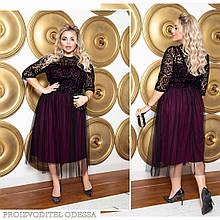 Красивое праздничное миди платье Ткань: креп-дайвинг, фатин, флок на сетке бордовое черное батал