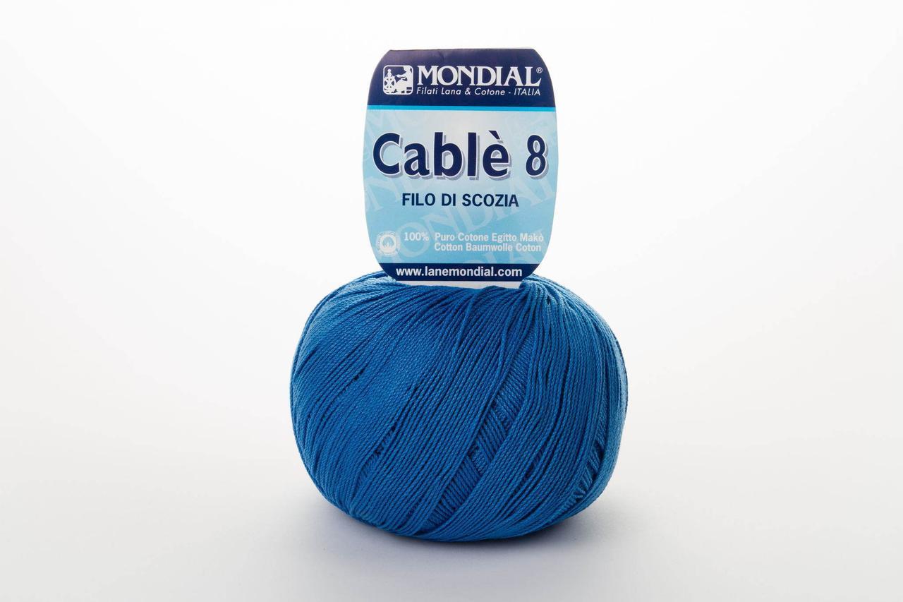 Пряжа Mondial Cable 8 0901 насыщеный синий