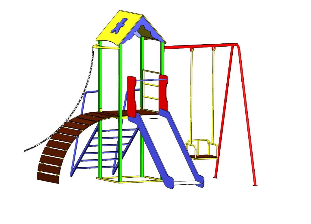 """Игровой детский комплекс для улицы """"Гамми"""" с качелями и горкой"""