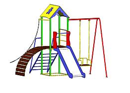 """Дитячий ігровий комплекс для вулиці """"Гамма"""" з гойдалками і гіркою"""
