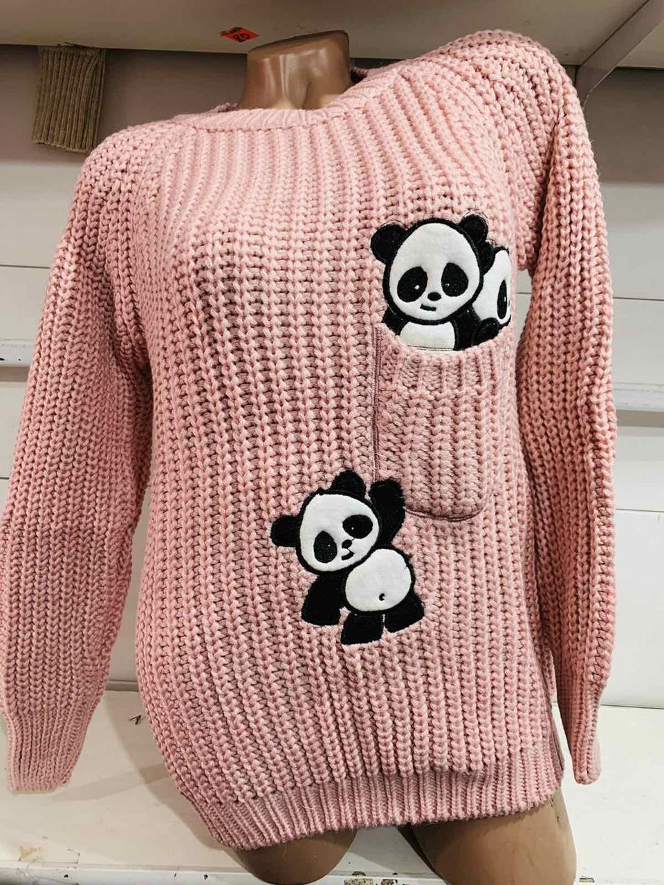 Вязаный женский свитер с пандами Турция (в расцветках 42-46)