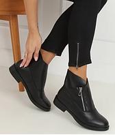 Черные женские полуботинки на плоской подошве