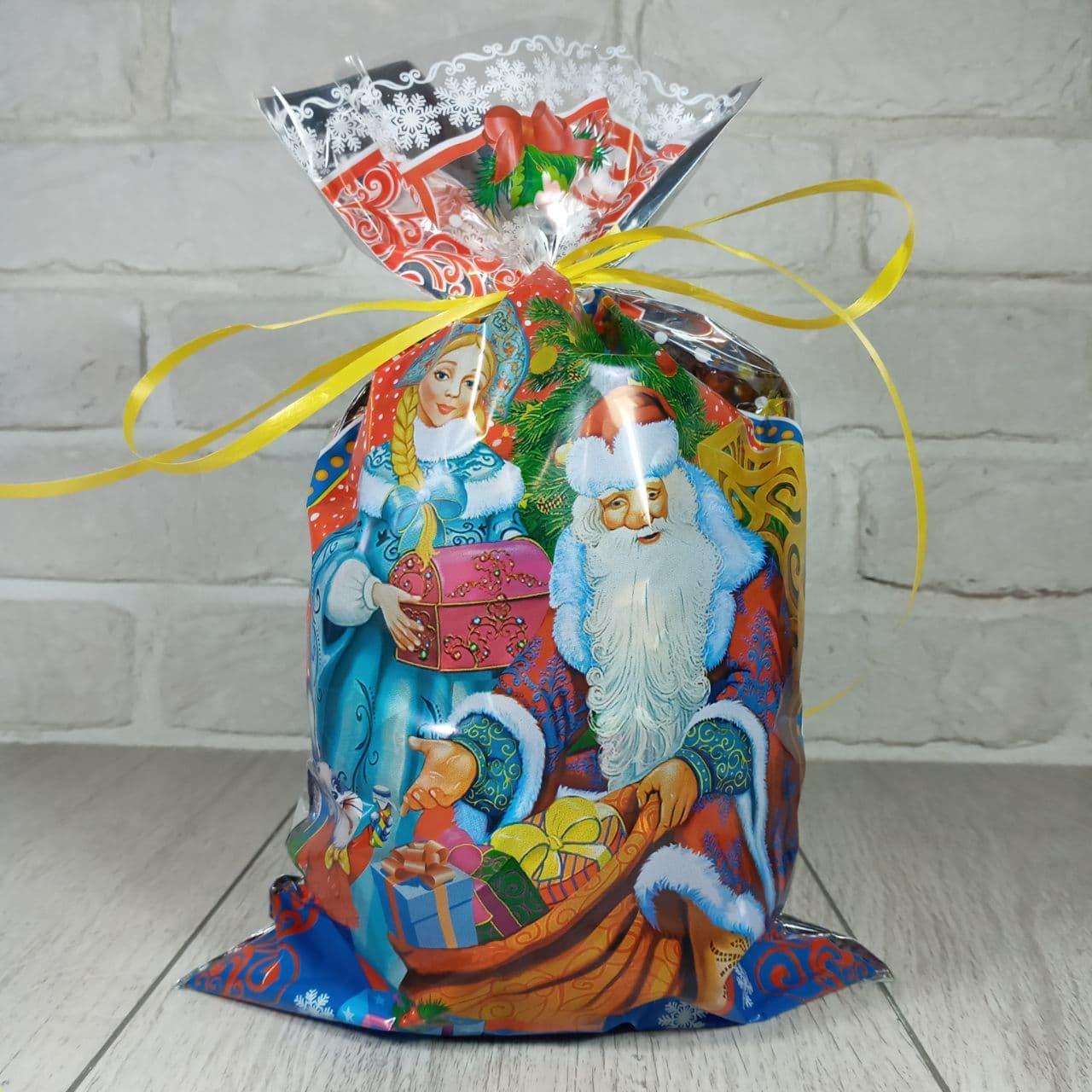 Новогодняя подарочная упаковка для конфет 20см 35см Дед Мороз и зайка (100шт)