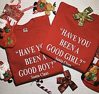 Парные новогодние свитшоты для влюбленных HAVE YOU BEEN A GOOD GIRL ?Santa Claus