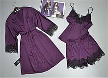 Вишуканий комплект домашньої одягу Este. Халат майка і шорти з шовку Армані.
