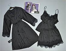 Чорний шовковий комплект трійка для сну і відпочинку Este.