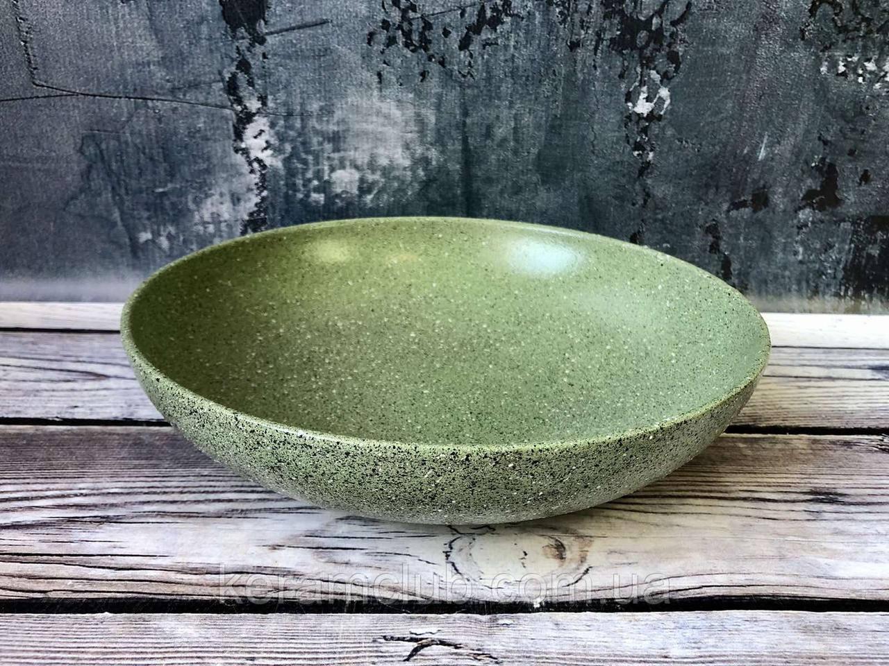 Миска для вареников V 1,4 л с гранитным покрытием зеленого цвета