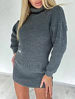Женское вязанное платье-туника с карманом