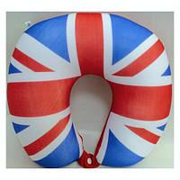 """Подушка дорожная """"UK Style"""" 25,5х28,5 см, с силиконовыми шариками, синт.ткань"""