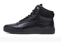 Мужские зимние кожаные ботинки Puma black Leather черные, фото 1
