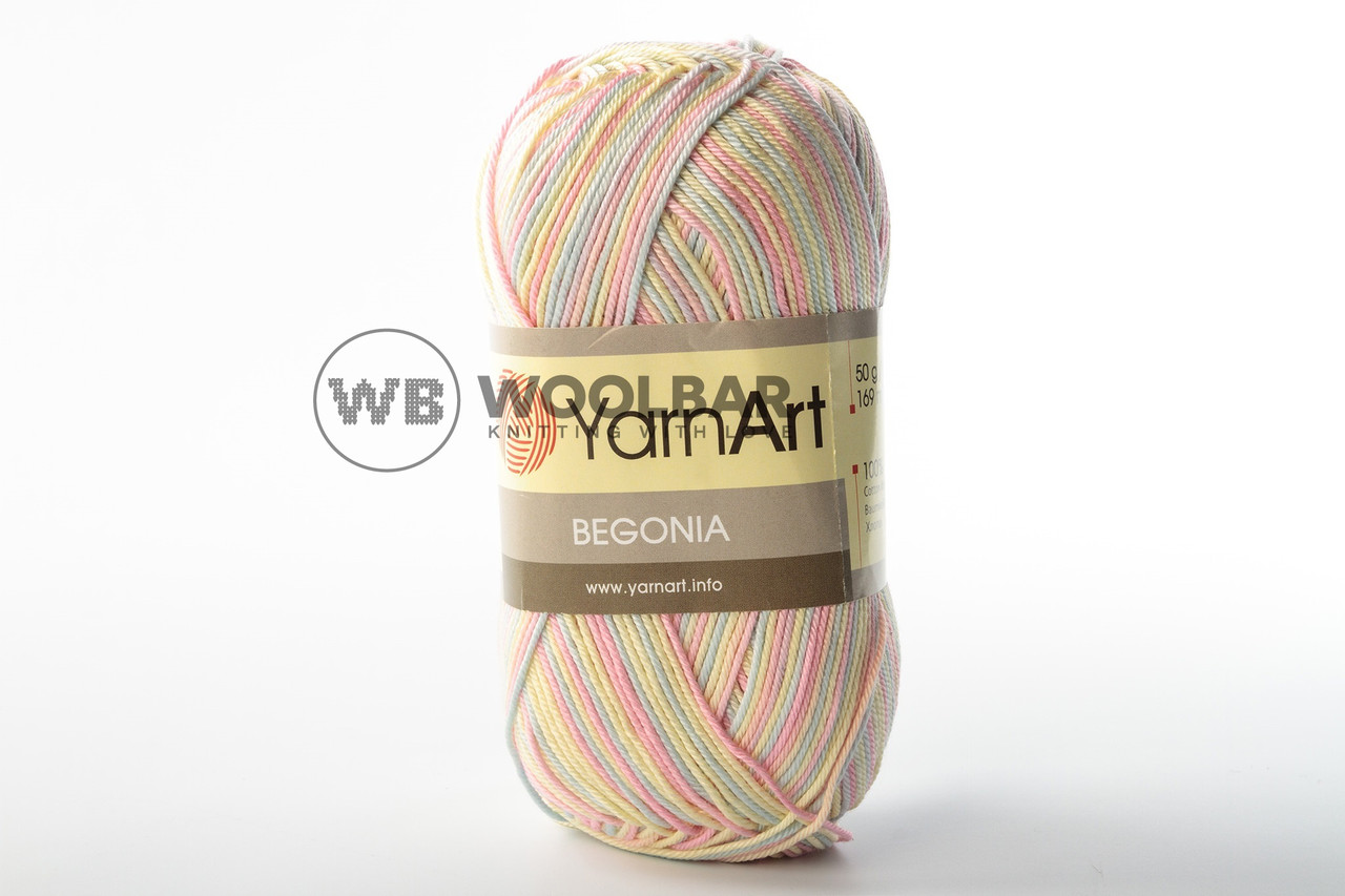 Пряжа YarnArt Begonia Melange 3194 рожево-жовто-блакитний меланж