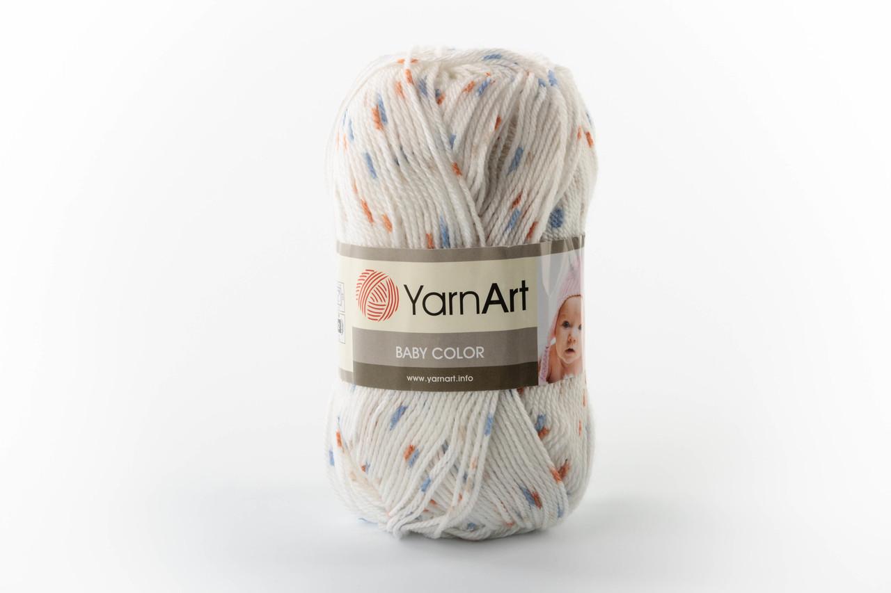 Пряжа YarnArt Baby Color 0268 білий+синій+оранжевий меланж