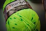 Пряжа YarnArt Baby Color 0268 білий+синій+оранжевий меланж, фото 5