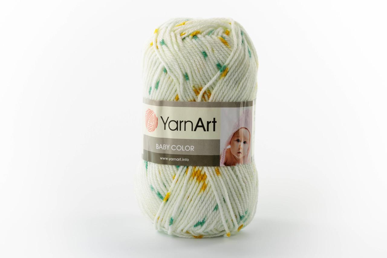 Пряжа YarnArt Baby Color 5133 зелено-жовтий меланж