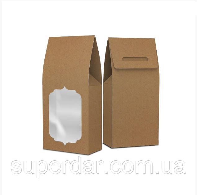 Упаковка-пакет 90х46х190 с окошком, крафт (ящ.:750 шт)