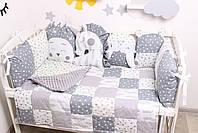 Комплект в кроватку с игрушками и облачками в серо-молочном цвете, фото 4