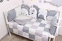 Комплект в кроватку с игрушками и облачками в серо-молочном цвете, фото 5