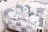 Комплект в кроватку с игрушками и облачками в серо-молочном цвете, фото 6