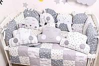 Комплект в кроватку с игрушками и облачками в серо-молочном цвете, фото 7