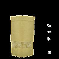 Упаковка для кофе/чая 250г 140х240х40мм (крафт, zip-замок с окошком) (уп/10шт), фото 1