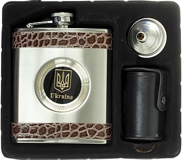 """Набір подар. """"Flachmann-sat"""" Український герб №QK-25 фляга, 4чарки, воронка"""
