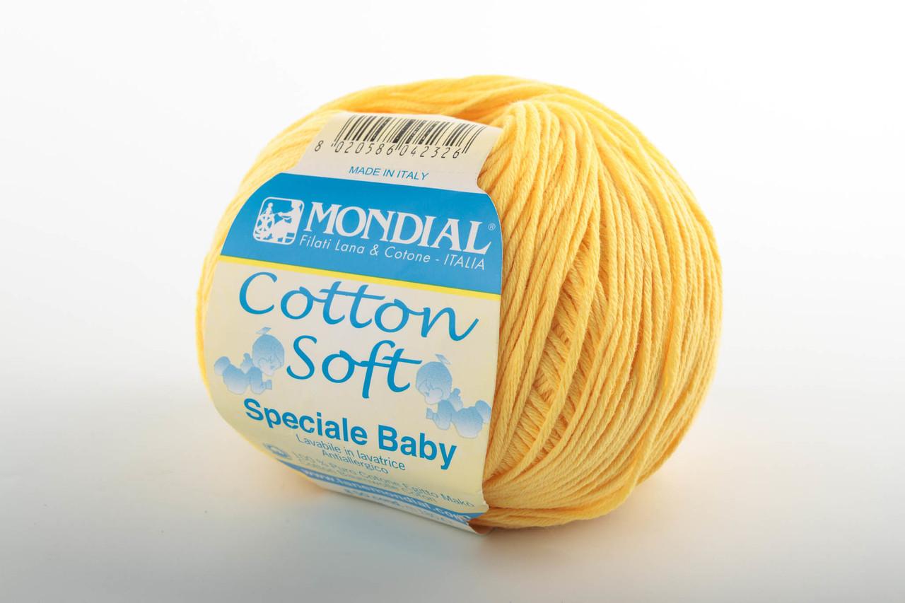 Пряжа Mondial Cotton Soft (Speciale Baby) 0509 желтый