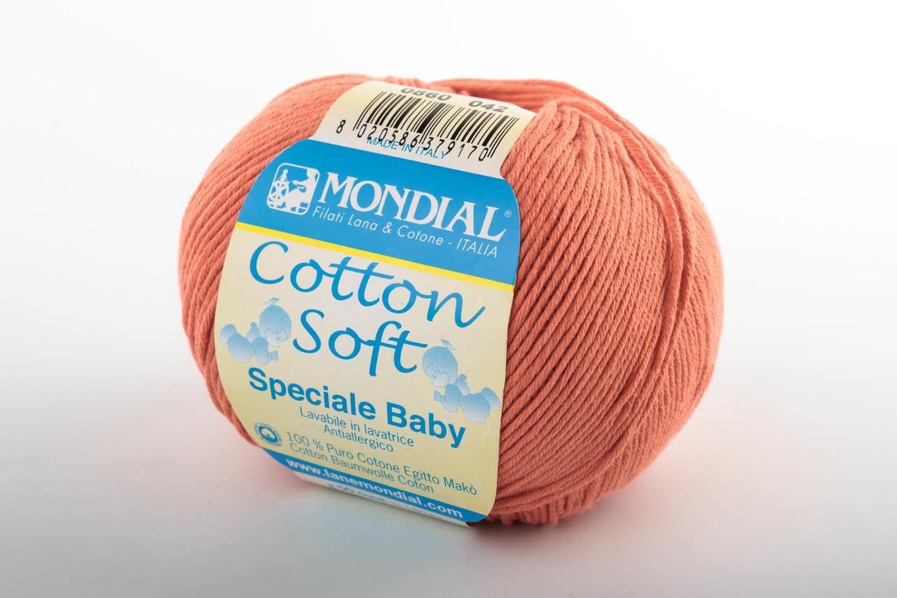 Пряжа Mondial Cotton Soft (Speciale Baby) 0860 коралл