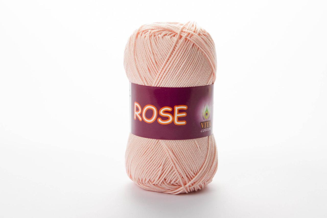 Пряжа бавовняна Vita Cotton Rose, Color No.3904 світло-рожевий