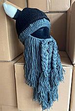 Зимняя шапка викинга с шапкой рогами и длинной бородой, фото 2