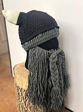 Зимняя шапка викинга с шапкой рогами и длинной бородой, фото 3
